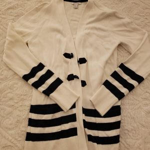White & Navy Nautica Cardigan